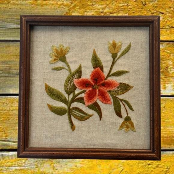 Vintage Boho Floral Embroidered Crewel Wall Art